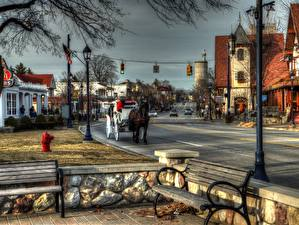 Фотографии США Мичиган Frankenmuth MI Скамья Уличные фонари HDR город