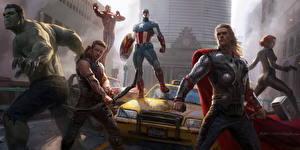 Фотографии Мстители (фильм, 2012) Крис Хемсворт Халк герой Тор герой Капитан Америка герой