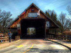Фото Штаты Дороги Мичиган Frankenmuth MI HDR wooden bridge
