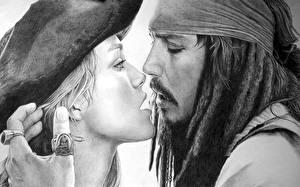 Фотография Пираты Карибского моря Johnny Depp Keira Knightley Капитан Джек Элизабет кино