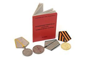Фото Медали боевые медали партбилет