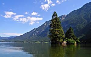 Картинка Озеро Австрия Небо Халльштатт Природа
