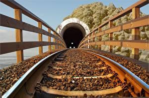 Картинка Железные дороги Рельсы Тоннель