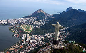 Обои Бразилия Рио-де-Жанейро Статуя Христа Спасителя