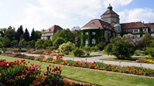 Картинки Сады Мюнхен Германия Ботанический Природа