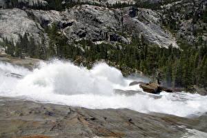 Обои Парки Водопады Реки США Йосемити Калифорния LeConte Tuolumne Природа фото