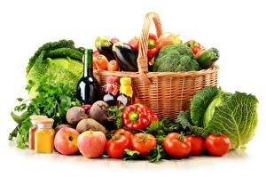 Фотография Овощи Корзины Пища