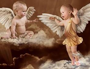 Картинки Младенцы Купидона Крылья ребёнок