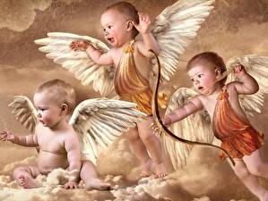 Картинки Лучники Грудной ребёнок Купидона Крылья ангелы Дети