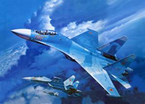 Обои Самолеты Рисованные Су-27