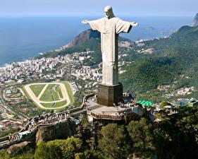 Фото Памятники Бразилия Рио-де-Жанейро Статуя христа-искупителя Города