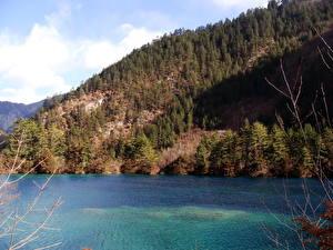 Обои Реки Китай Цзючжайгоу парк Valley Природа фото