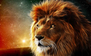 Фото Лев Большие кошки Морды 3D Графика Животные