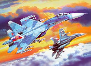 Картинка Самолеты Рисованные Су-27