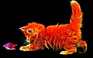 Обои Кошки Котята 3D Графика Животные