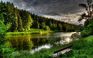 Картинка Реки Леса Скамья Чехия Pruhonice Природа