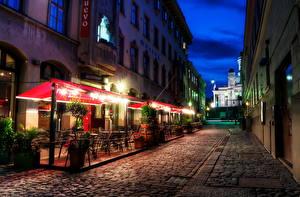 Картинки Финляндия Хельсинки HDR Ночью Уличные фонари
