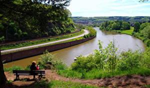Картинка Речка Германия Скамейка Водный канал Метлах Природа
