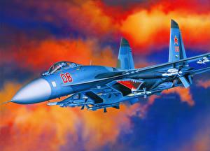 Картинки Самолеты Рисованные Су-27