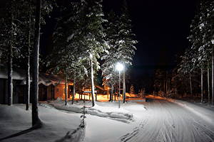 Фотографии Времена года Зима Дороги Финляндия Снег Лапландия Природа