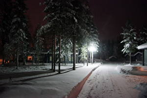 Фотография Сезон года Зимние Дороги Финляндия Снег Лапландия Природа