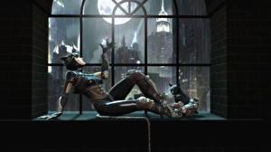 Фото Batman Супергерои Женщина-кошка герой Окно В ночи Луна Игры Девушки 3D_Графика