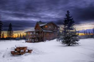Обои Дома Небо Зима HDRI Скамья город