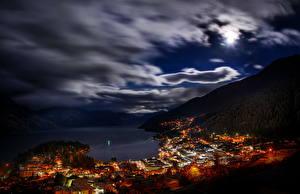 Обои Новая Зеландия Небо Облачно Ночь Queenstown город
