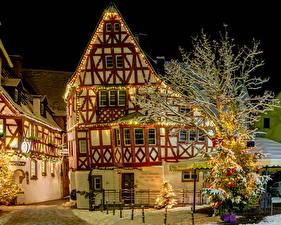 Фотография Германия Здания Зима Эдигер-Эллер Ночь Города