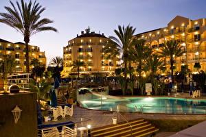 Фотография Курорты Испания Бассейны Ночные Пальм Канарские острова Лас-Пальмас-де-Гран-Канария город
