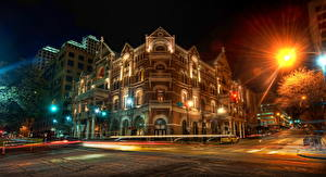 Картинка Америка Техас Остин TX HDR Ночь Уличные фонари Лучи света