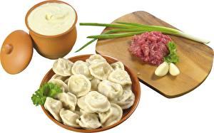Картинка Вторые блюда Лук репчатый Пельмени Еда