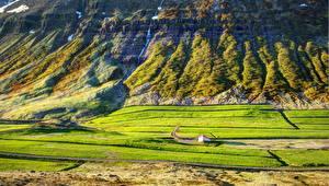 Картинки Водопады Горы Исландия Akureyri Природа