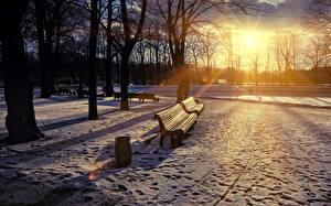 Фотография Времена года Зима Парки Рассветы и закаты Снега Лучи света Скамейка Деревья Природа