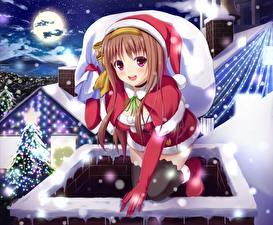 Обои Рождество Шапки Смотрит Луна Ночные Девушки