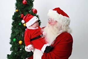 Обои Праздники Новый год Младенец Шапка Дед Мороз Борода Дети