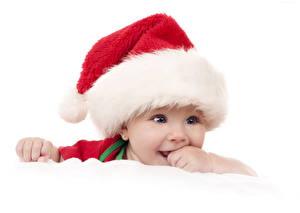 Фотографии Праздники Новый год Младенец В шапке Взгляд Дети
