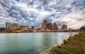 Картинки США Небо Реки Мост Остин TX Техас Облачно HDR город