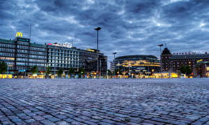 Картинка Финляндия Небо Хельсинки HDRI Уличные фонари