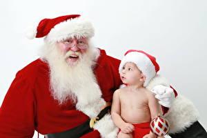 Фотография Праздники Новый год Младенцы Санта-Клаус Очках В шапке Смотрят Улыбка Бородатые ребёнок