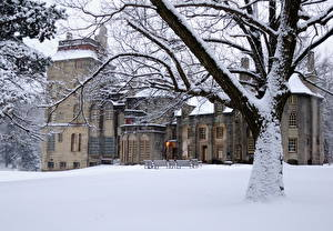 Фотография Замок США Снег Дерева Пенсильвания Fonthill