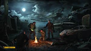 Обои Survarium Воины Ночные Луна Облачно компьютерная игра