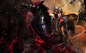 Картинка Воины Лошади Рога Доспехи Фантастика Девушки