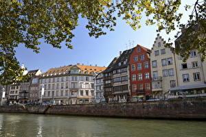 Фотография Франция Речка Здания Страсбург