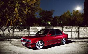 Картинка БМВ Красные Ночью машина