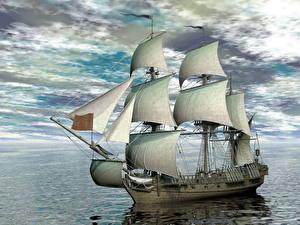 Обои Море Корабль Парусные Небо Облачно 3D Графика
