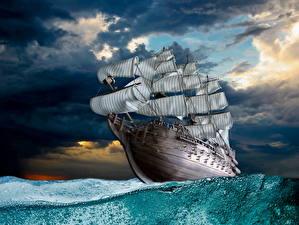 Картинки Корабль Парусные Море Волны Небо Оригинальные Облака