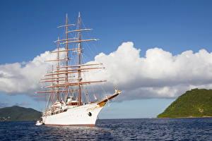 Фото Корабль Парусные Море Небо Облако