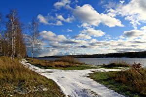 Картинка Река Небо Россия Облака Трава Береза Волга Природа