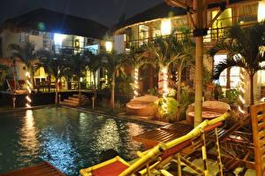 Фотографии Курорты Индонезия Бассейны Пальма Лежаки Ночные Дизайна Bali город